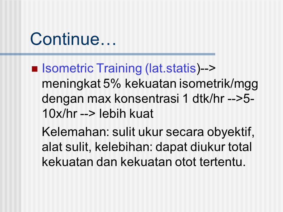 Continue… Isometric Training (lat.statis)--> meningkat 5% kekuatan isometrik/mgg dengan max konsentrasi 1 dtk/hr -->5- 10x/hr --> lebih kuat Kelemahan