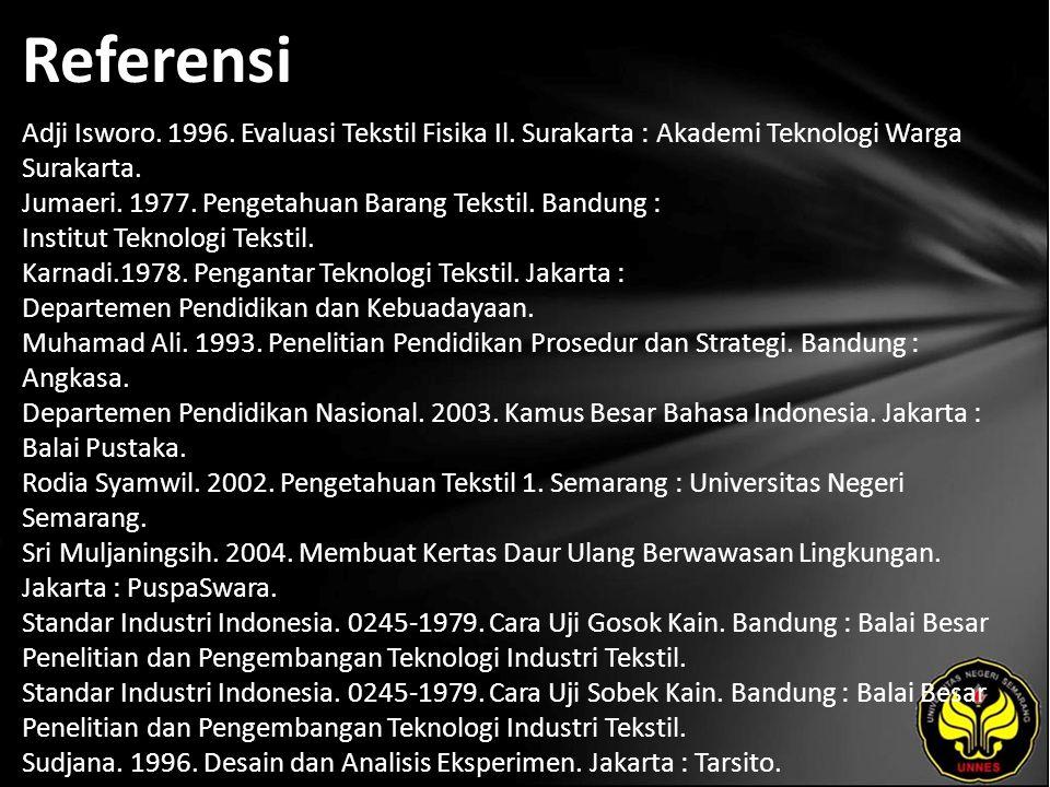 Referensi Adji Isworo. 1996. Evaluasi Tekstil Fisika Il. Surakarta : Akademi Teknologi Warga Surakarta. Jumaeri. 1977. Pengetahuan Barang Tekstil. Ban