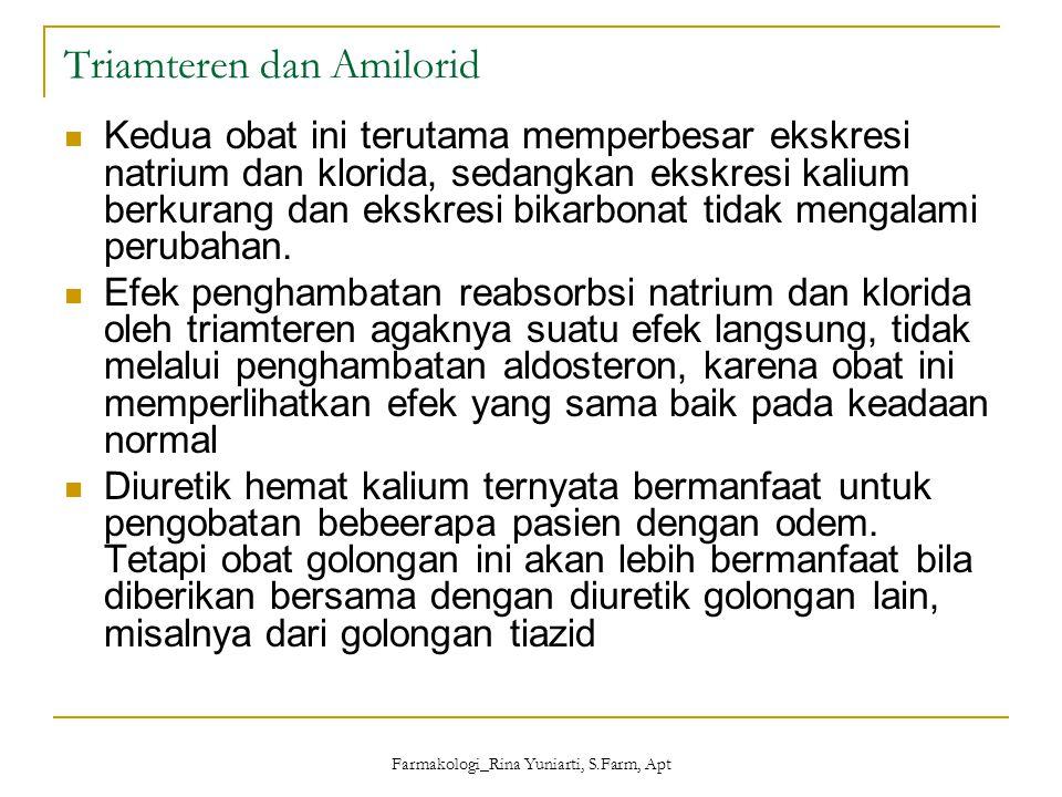 Farmakologi_Rina Yuniarti, S.Farm, Apt Triamteren dan Amilorid Kedua obat ini terutama memperbesar ekskresi natrium dan klorida, sedangkan ekskresi ka