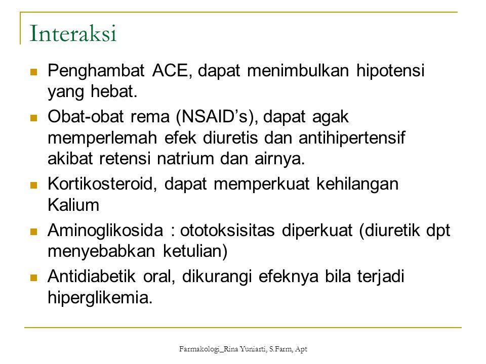 Farmakologi_Rina Yuniarti, S.Farm, Apt Interaksi Penghambat ACE, dapat menimbulkan hipotensi yang hebat. Obat-obat rema (NSAID's), dapat agak memperle