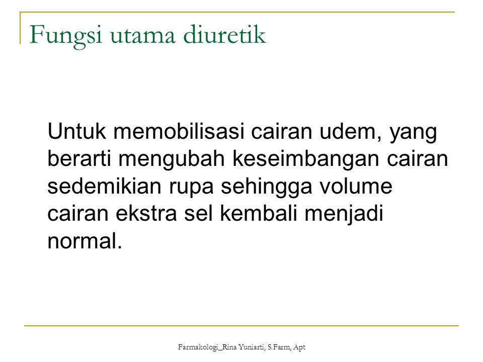 Farmakologi_Rina Yuniarti, S.Farm, Apt Diuretik dapat dibagi menjadi 5 golongan yaitu : 1.Diuretik osmotik 2.Diuretik golongan penghambat enzim karbonik anhidrase 3.Diuretik golongan tiazid 4.Diuretik hemat kalium 5.Diuretik kuat