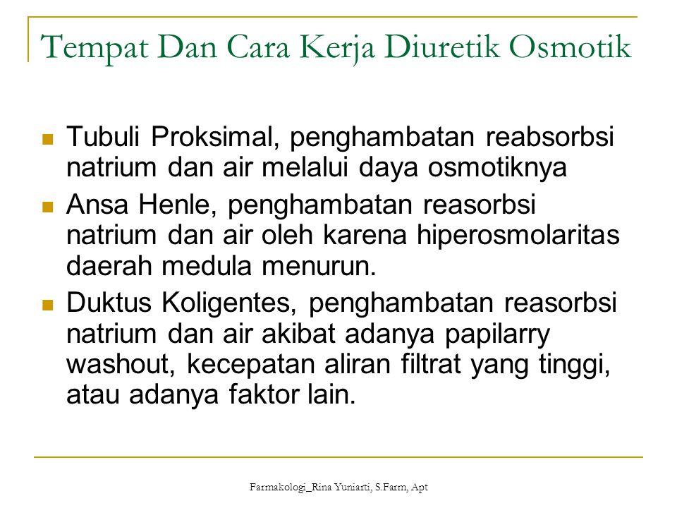 Farmakologi_Rina Yuniarti, S.Farm, Apt Penggunaan Udem paru akut Biasanya menggunakan diuretik kuat (furosemid) Sindrom nefrotik Biasanya digunakan tiazid atau diuretik kuat bersama dengan spironolakton.