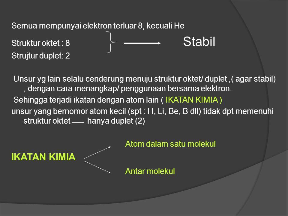 Atom - atom yang tidak memiliki konfigurasi seperti gas mulia, memiliki kecenderungan untuk mengikuti pola gas mulia, sehingga elektron valensi atau e