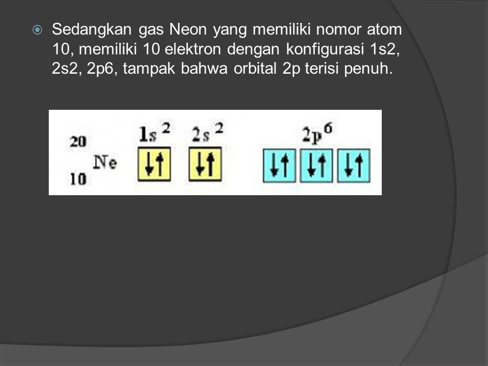  Konfigurasi tersebut ditunjukkan dengan terisinya seluruh elektron pada sub tingkat energi terluarnya khususnya untuk orbital p dan pengecualian unt