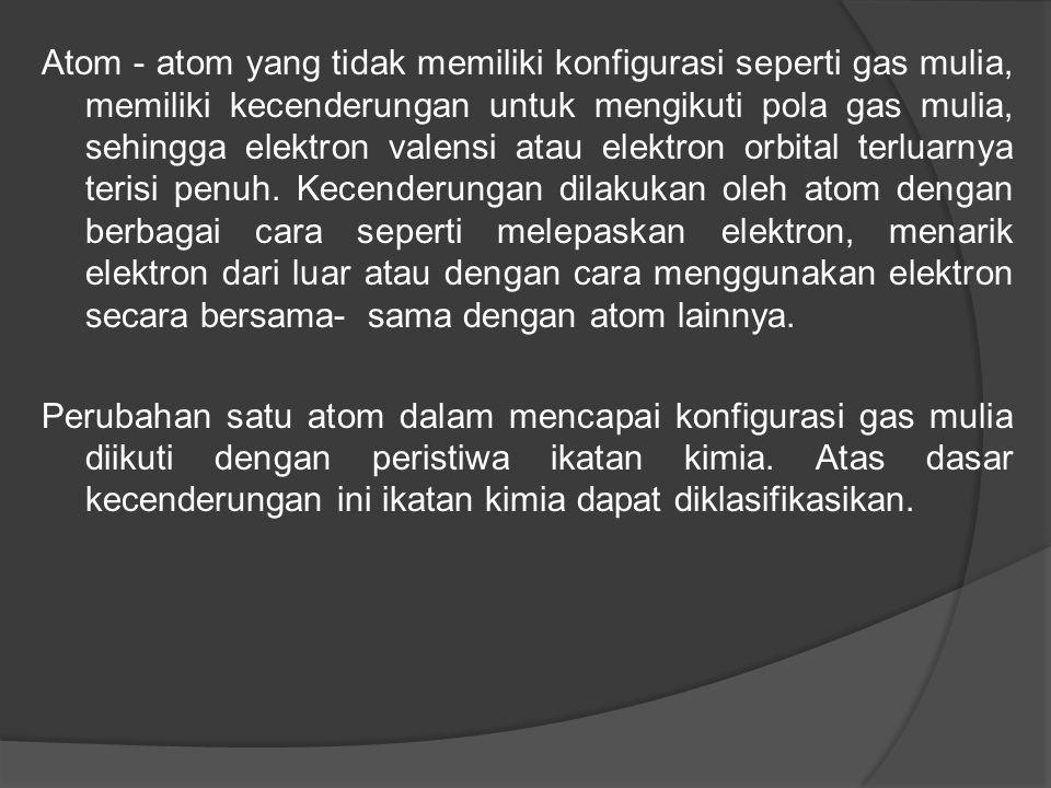 Atom - atom yang tidak memiliki konfigurasi seperti gas mulia, memiliki kecenderungan untuk mengikuti pola gas mulia, sehingga elektron valensi atau elektron orbital terluarnya terisi penuh.