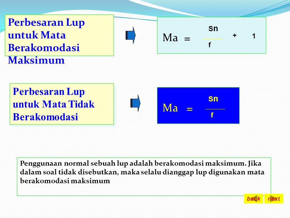 PERBESARAN LUP + M F O Perbesaran Lup untuk Mata Berakomodasi pada jarak x Ma S S ' = -X SnSn f + SnSn x = Sn = titik dekat mata normal F = fokus lens
