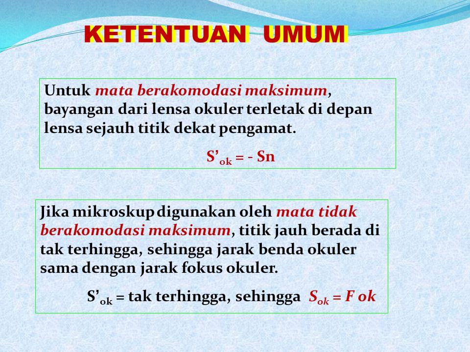2F ob F ob F ob 2F ob F ok S ob S ' ob 1 S ob + 1 S' ob = 1 f ob S ok d = S ' ob + S ok S ' ok 1 S ok + 1 S' ok = 1 f ok M = M ob x M ok Perbesaran :