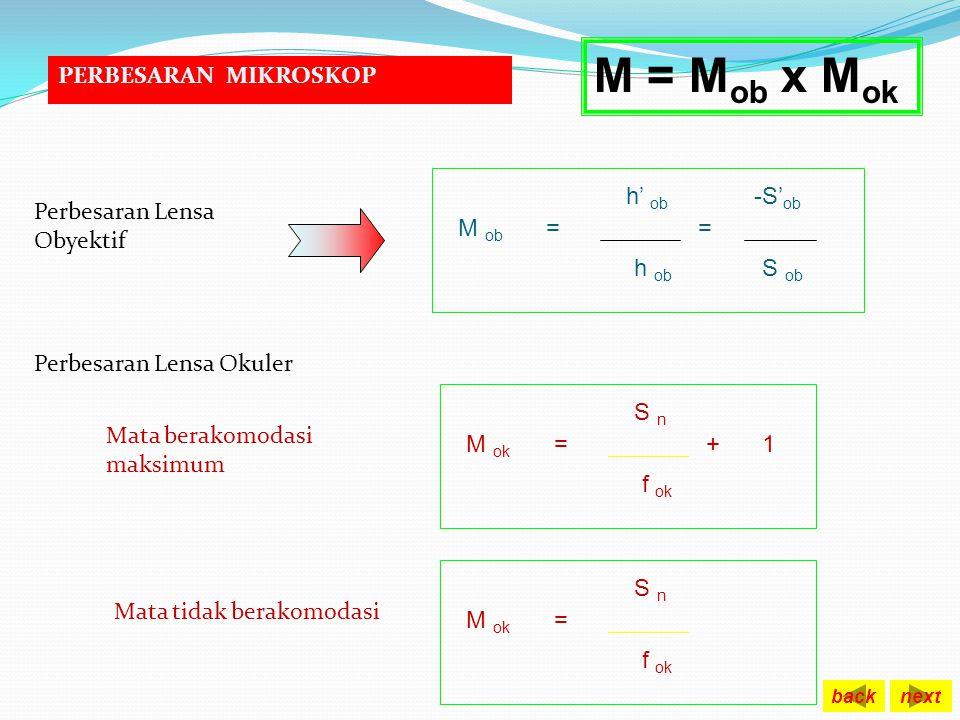 KETENTUAN UMUM Untuk mata berakomodasi maksimum, bayangan dari lensa okuler terletak di depan lensa sejauh titik dekat pengamat. S ' ok = - Sn KETENTU