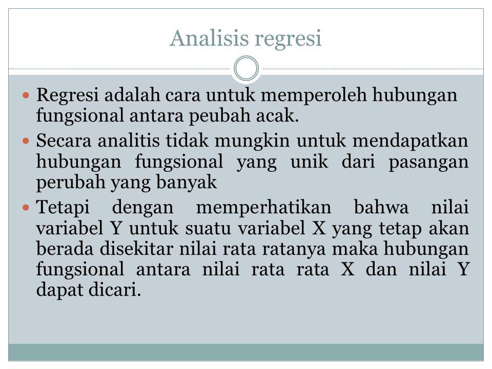 Analisis regresi Regresi adalah cara untuk memperoleh hubungan fungsional antara peubah acak. Secara analitis tidak mungkin untuk mendapatkan hubungan