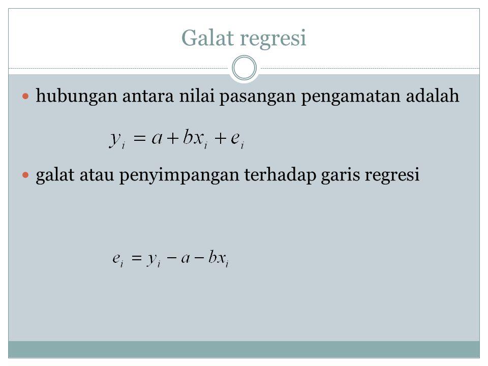 Galat regresi hubungan antara nilai pasangan pengamatan adalah galat atau penyimpangan terhadap garis regresi