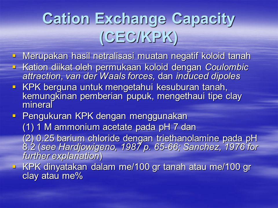 Cation Exchange Capacity (CEC/KPK)  Merupakan hasil netralisasi muatan negatif koloid tanah  Kation diikat oleh permukaan koloid dengan Coulombic attraction, van der Waals forces, dan induced dipoles  KPK berguna untuk mengetahui kesuburan tanah, kemungkinan pemberian pupuk, mengethaui tipe clay mineral  Pengukuran KPK dengan menggunakan (1) 1 M ammonium acetate pada pH 7 dan (2) 0.25 barium chloride dengan triethanolamine pada pH 8.2 (see Hardjowigeno, 1987 p.