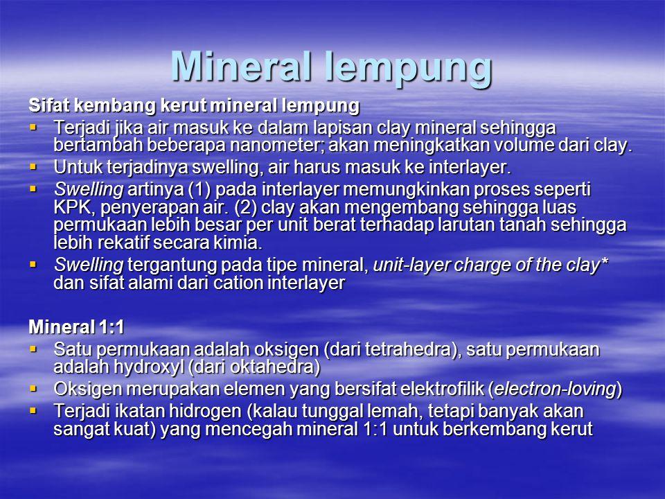 Mineral lempung Sifat kembang kerut mineral lempung  Terjadi jika air masuk ke dalam lapisan clay mineral sehingga bertambah beberapa nanometer; akan meningkatkan volume dari clay.