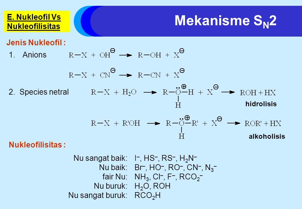 E.Nukleofil Vs Nukleofilisitas 1.Anions hidrolisis alkoholisis 2.