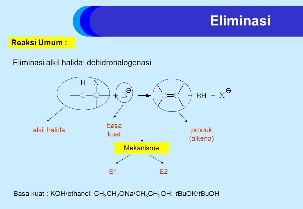 Eliminasi alkil halida: dehidrohalogenasi Basa kuat : KOH/ethanol; CH 3 CH 2 ONa/CH 3 CH 2 OH; tBuOK/tBuOH Eliminasi Reaksi Umum : alkil halida basa kuat produk (alkena) Mekanisme E1E2