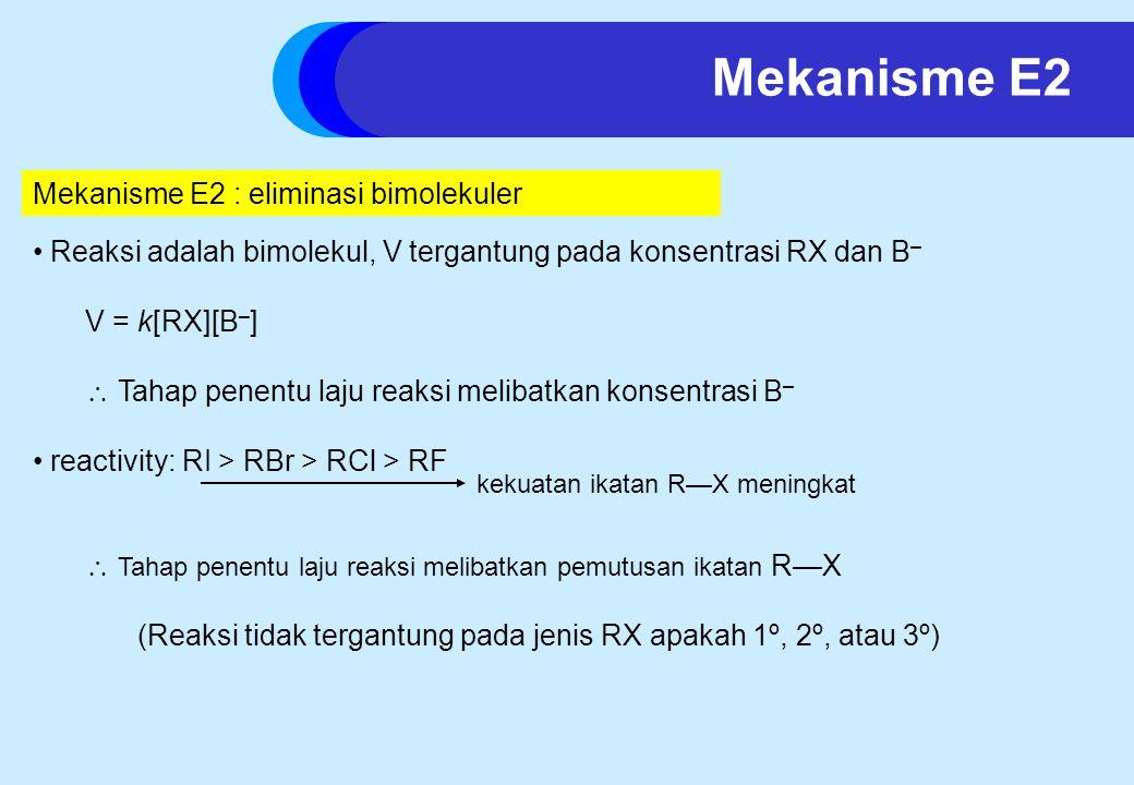 Mekanisme E2 : eliminasi bimolekuler Reaksi adalah bimolekul, V tergantung pada konsentrasi RX dan B – V = k[RX][B – ]  Tahap penentu laju reaksi melibatkan konsentrasi B – reactivity: RI > RBr > RCl > RF  Tahap penentu laju reaksi melibatkan pemutusan ikatan R—X (Reaksi tidak tergantung pada jenis RX apakah 1º, 2º, atau 3º) kekuatan ikatan R—X meningkat Mekanisme E2