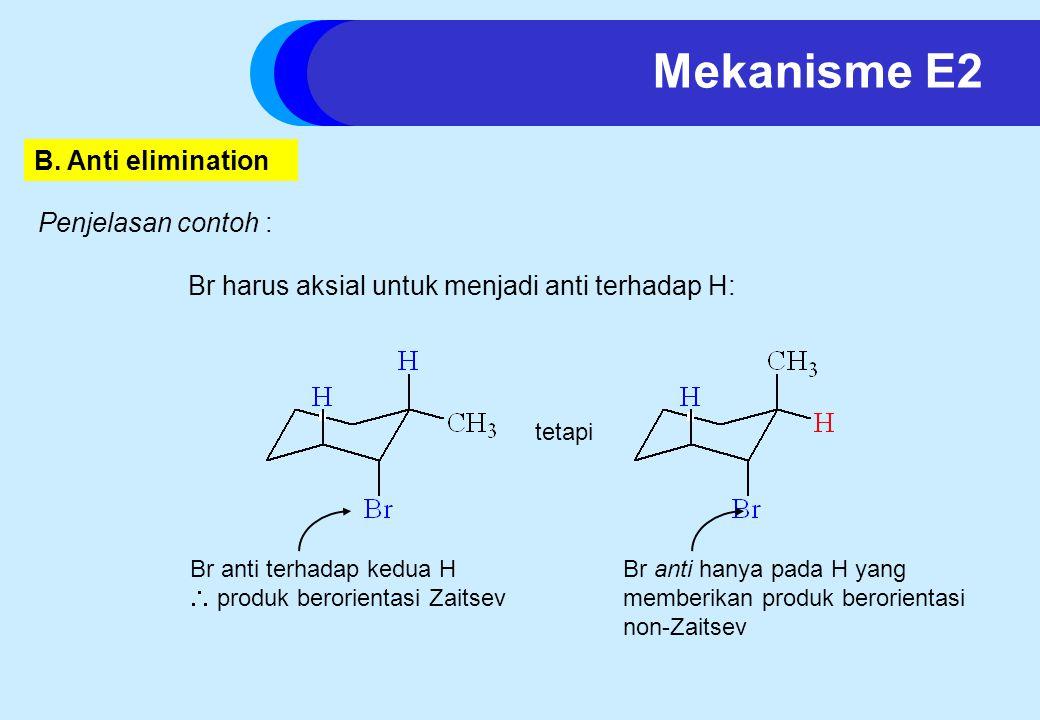 Br harus aksial untuk menjadi anti terhadap H: Br anti terhadap kedua H  produk berorientasi Zaitsev Br anti hanya pada H yang memberikan produk berorientasi non-Zaitsev Mekanisme E2 Penjelasan contoh : B.