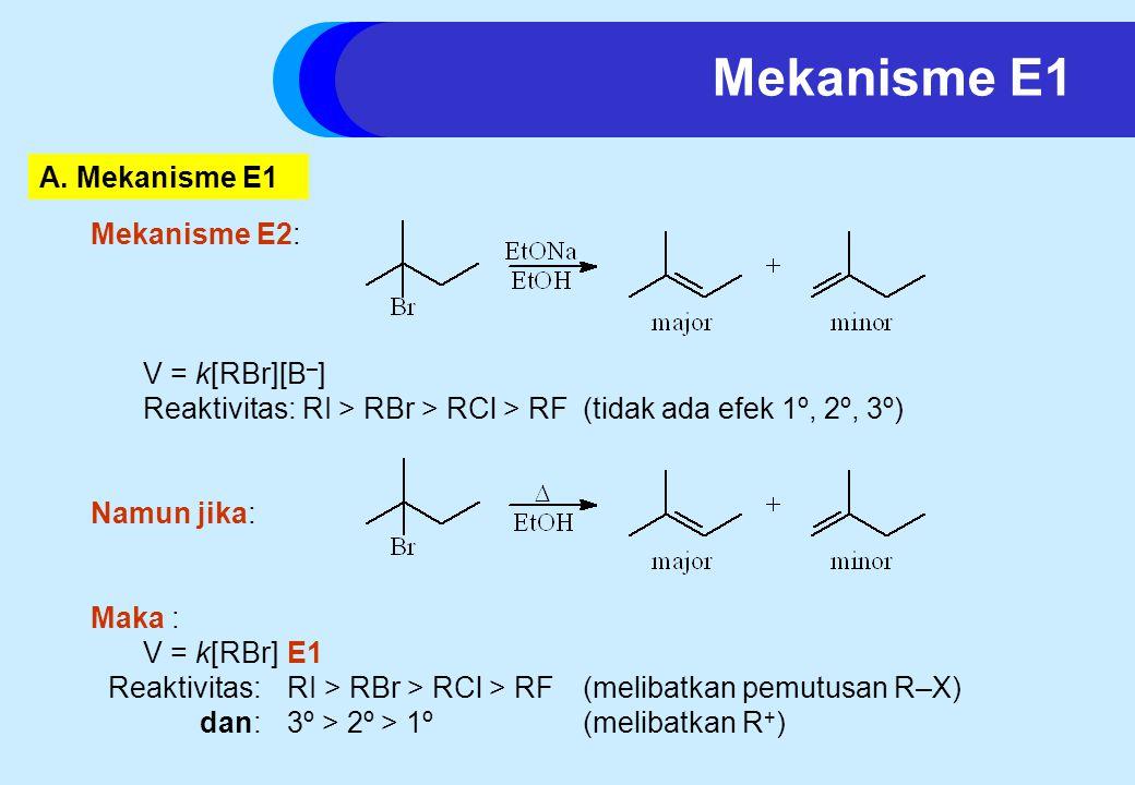 Mekanisme E2: V = k[RBr][B – ] Reaktivitas: RI > RBr > RCl > RF(tidak ada efek 1º, 2º, 3º) Namun jika: Maka : V = k[RBr]E1 Reaktivitas: RI > RBr > RCl > RF(melibatkan pemutusan R–X) dan: 3º > 2º > 1º(melibatkan R + ) A.