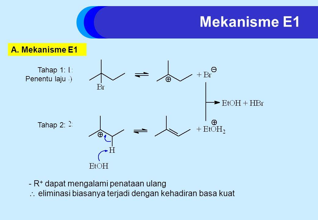 - R + dapat mengalami penataan ulang  eliminasi biasanya terjadi dengan kehadiran basa kuat Mekanisme E1 A.