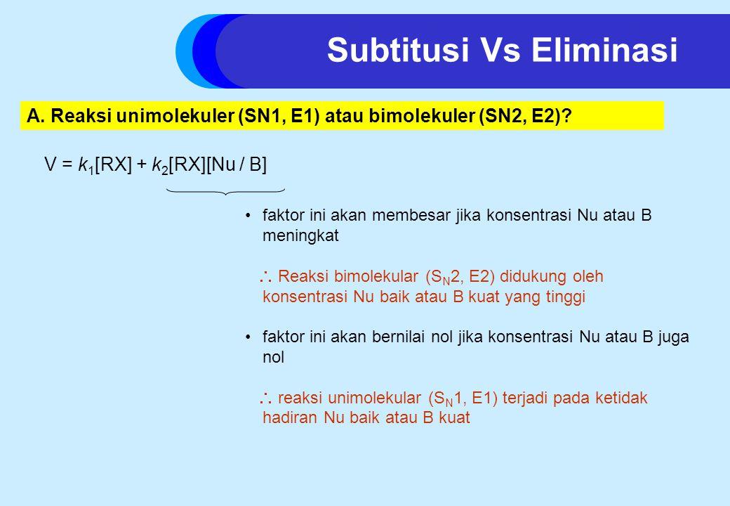 Subtitusi Vs Eliminasi A.Reaksi unimolekuler (SN1, E1) atau bimolekuler (SN2, E2).
