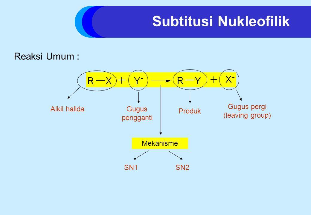 Subtitusi Nukleofilik Reaksi Umum : Alkil halidaGugus pengganti Gugus pergi (leaving group) Mekanisme SN1SN2 Produk