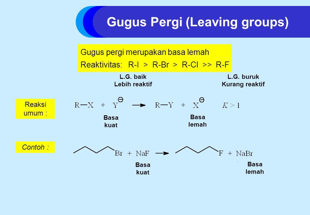 Gugus pergi merupakan basa lemah Reaktivitas: R-I > R-Br > R-Cl >> R-F L.G.