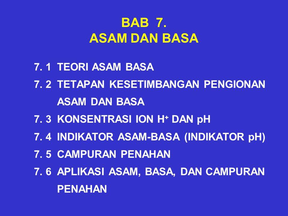 BAB 7.ASAM DAN BASA 7. 1 TEORI ASAM BASA 7. 2 TETAPAN KESETIMBANGAN PENGIONAN ASAM DAN BASA 7.