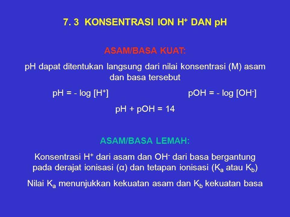 7. 3 KONSENTRASI ION H + DAN pH ASAM/BASA KUAT: pH dapat ditentukan langsung dari nilai konsentrasi (M) asam dan basa tersebut pH = - log [H + ] pOH =