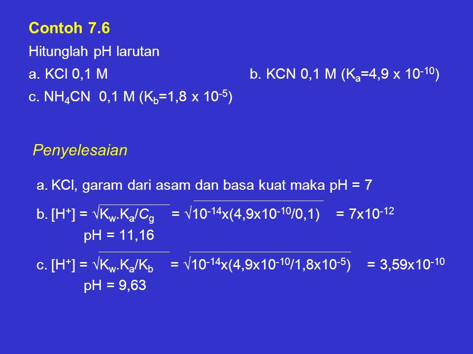 Contoh 7.6 Hitunglah pH larutan a. KCl 0,1 M b. KCN 0,1 M (K a =4,9 x 10 -10 ) c. NH 4 CN 0,1 M (K b =1,8 x 10 -5 ) a.KCl, garam dari asam dan basa ku