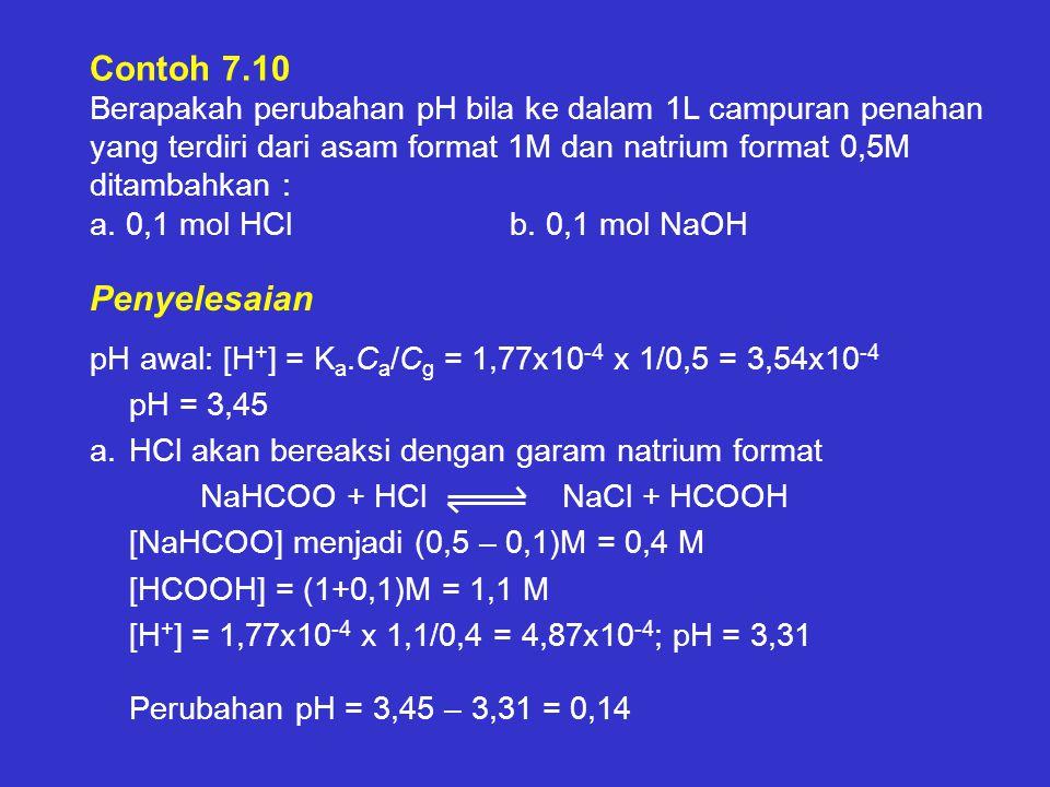 Contoh 7.10 Berapakah perubahan pH bila ke dalam 1L campuran penahan yang terdiri dari asam format 1M dan natrium format 0,5M ditambahkan : a. 0,1 mol