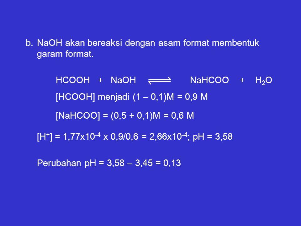 b.NaOH akan bereaksi dengan asam format membentuk garam format. HCOOH + NaOH NaHCOO + H 2 O [HCOOH] menjadi (1 – 0,1)M = 0,9 M [NaHCOO] = (0,5 + 0,1)M