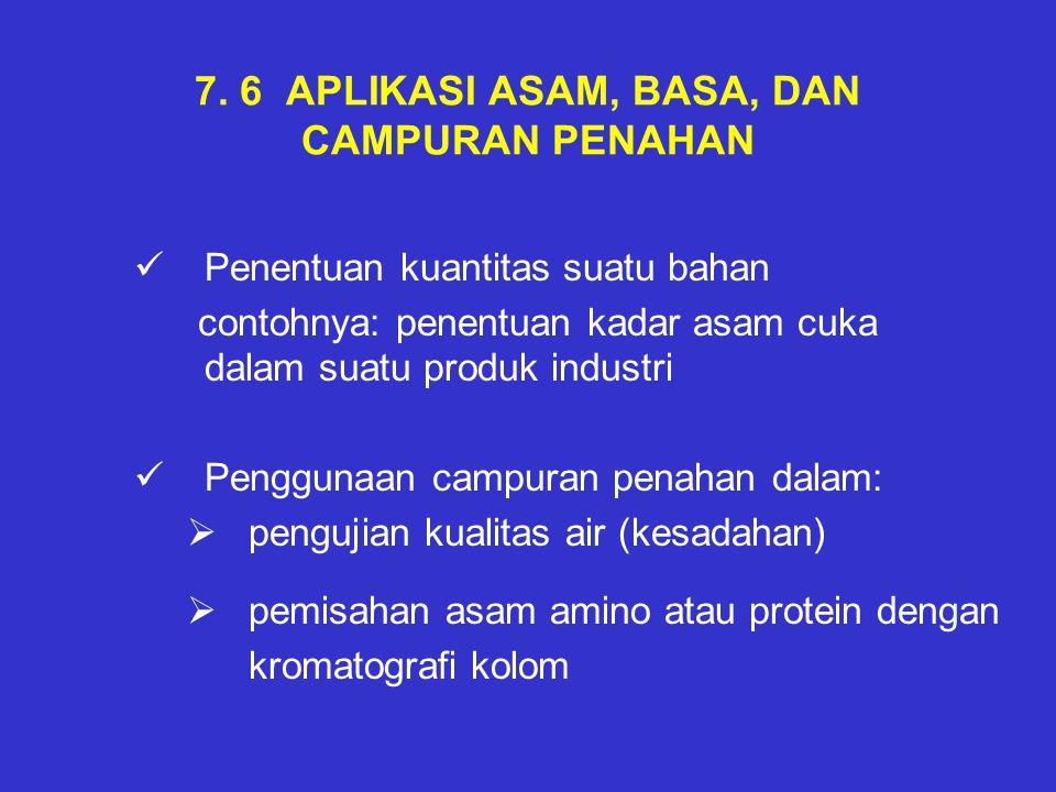 7. 6 APLIKASI ASAM, BASA, DAN CAMPURAN PENAHAN Penentuan kuantitas suatu bahan contohnya: penentuan kadar asam cuka dalam suatu produk industri Penggu
