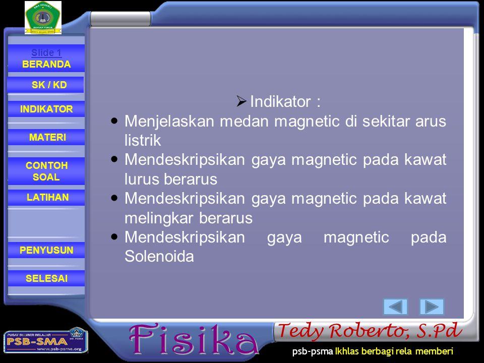 psb-psma Ikhlas berbagi rela memberi CONTOH SOAL MATERI PENYUSUN INDIKATOR SK / KD LATIHAN Slide 1 BERANDA SELESAI Tedy Roberto, S.Pd  Indikator : Me