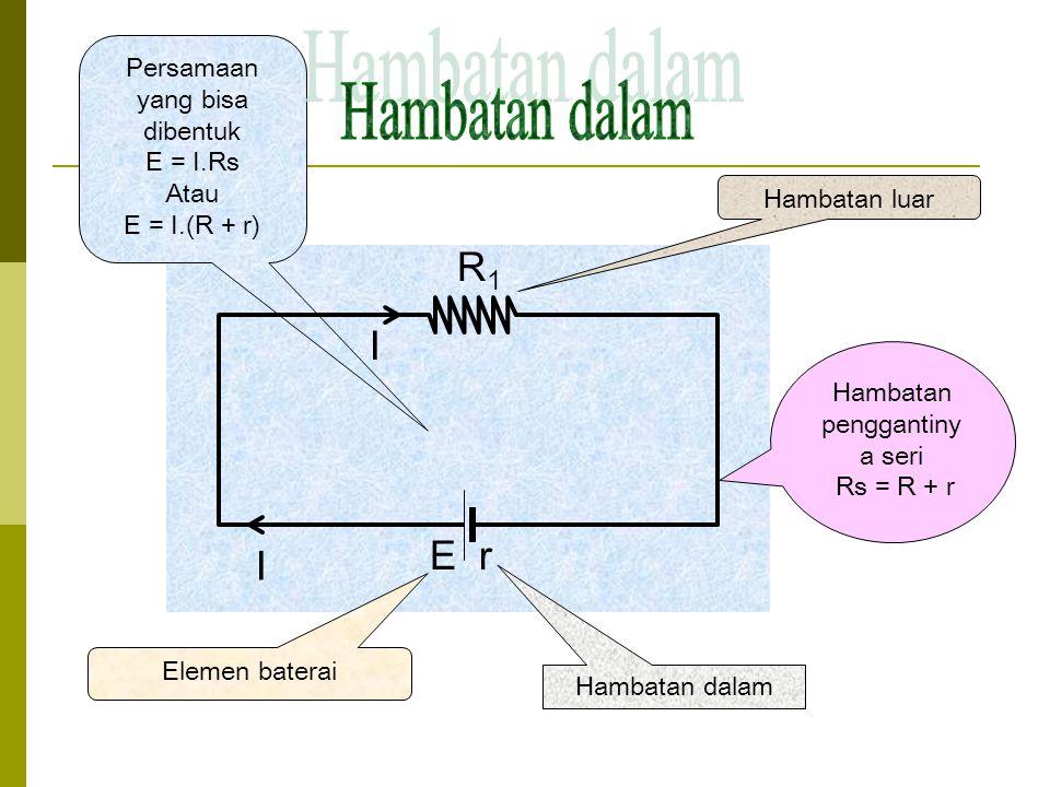 R1R1 I E E r R1R1 Hambatan luar Elemen baterai Hambatan dalam Hambatan penggantiny a seri Rs = R + r Persamaan yang bisa dibentuk E = I.Rs Atau E = I.(R + r) I