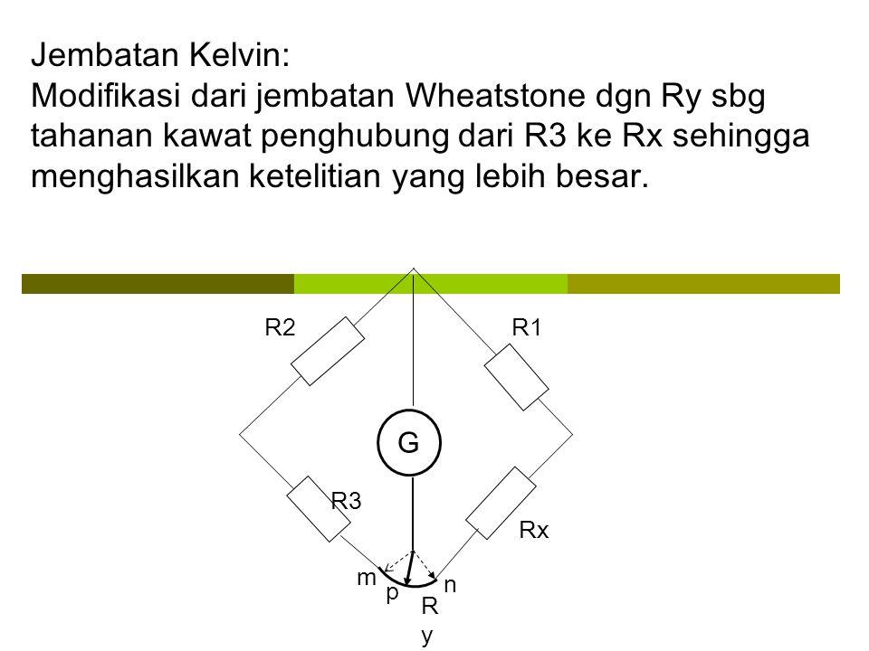 Hambatan ini adalah hambatan yang diketahui Mengukur Hambatan dengan Metode Jembatan Wheatstone R RXRX EI 0 1 G 2 -2 + - L saklar Saklar ditutup Arus mengalir Arus bercabang Penghantar dari kutub negatif galvanometer digeser ke kiri-kanan hingga jarum galvanometer menunjuk nol Hambatan ini adalah hambatan yang akan diukur Kawat yang panjangnya L dan memiliki hambat jenis besar, misalnya nikrom Setelah jarum menunjukkan nol, maka untuk menentukan Rx….