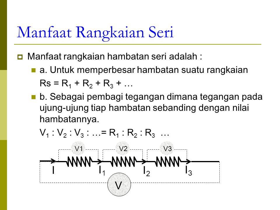 Gaya gerak listrik(GGL) elemen  adalah tegangan pada ujung- ujung baterai saat tidak dihubungkan ke komponen listrik; sedang tegangan jepit Vj adalah tegangan pada ujung-ujung baterai saat dihubungkan dengan komponen listrik E = I.( R + r ) R1R1 I E r I A B Tegangan jepit adalah beda potensial antara dua titik di kutub- kutub elemen baterai.