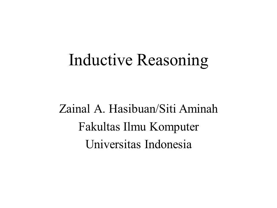 Inductive Reasoning Zainal A. Hasibuan/Siti Aminah Fakultas Ilmu Komputer Universitas Indonesia