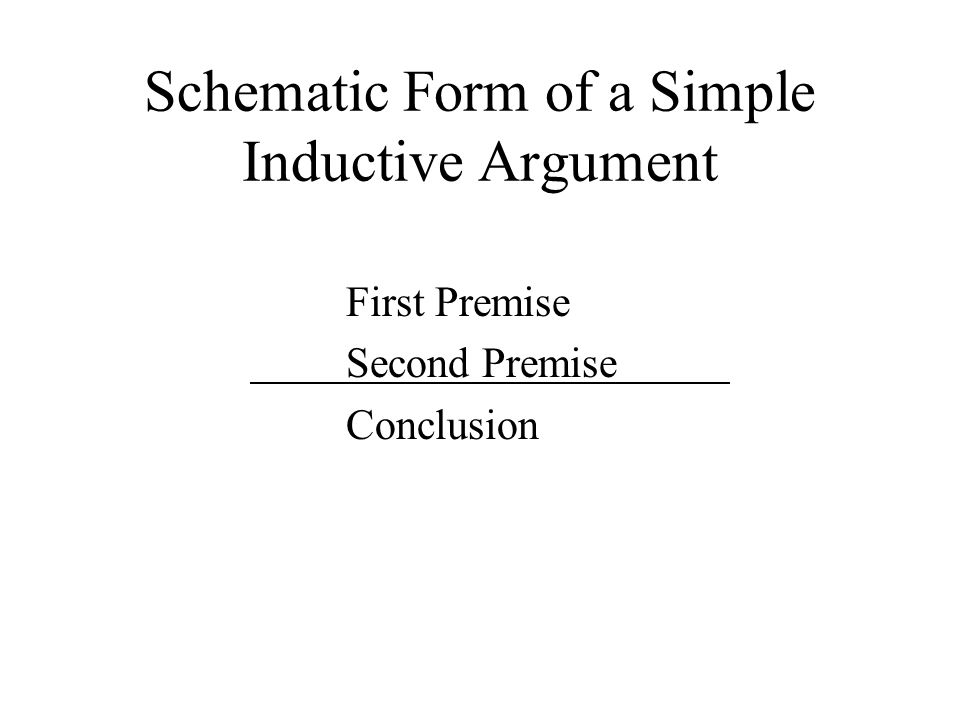 Schematic Form of a Simple Inductive Argument First Premise Second Premise Conclusion