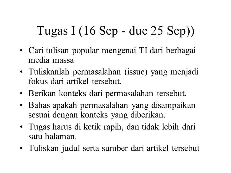 Tugas I (16 Sep - due 25 Sep)) Cari tulisan popular mengenai TI dari berbagai media massa Tuliskanlah permasalahan (issue) yang menjadi fokus dari artikel tersebut.