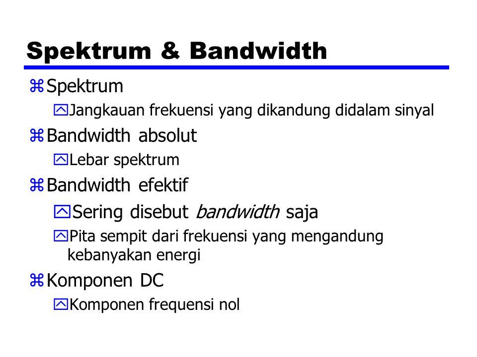 Spektrum & Bandwidth zSpektrum yJangkauan frekuensi yang dikandung didalam sinyal zBandwidth absolut yLebar spektrum zBandwidth efektif ySering disebu