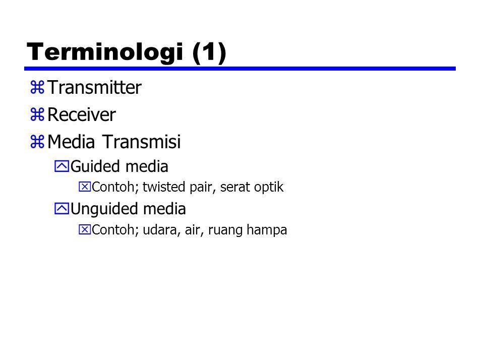 Terminologi (1) zTransmitter zReceiver zMedia Transmisi yGuided media xContoh; twisted pair, serat optik yUnguided media xContoh; udara, air, ruang ha