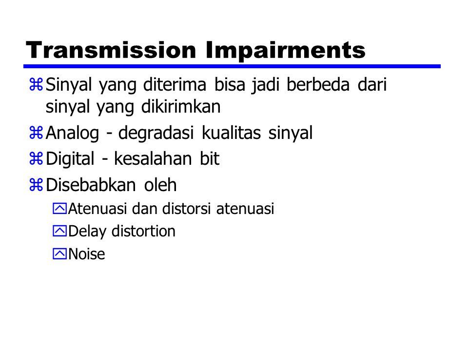 Transmission Impairments zSinyal yang diterima bisa jadi berbeda dari sinyal yang dikirimkan zAnalog - degradasi kualitas sinyal zDigital - kesalahan