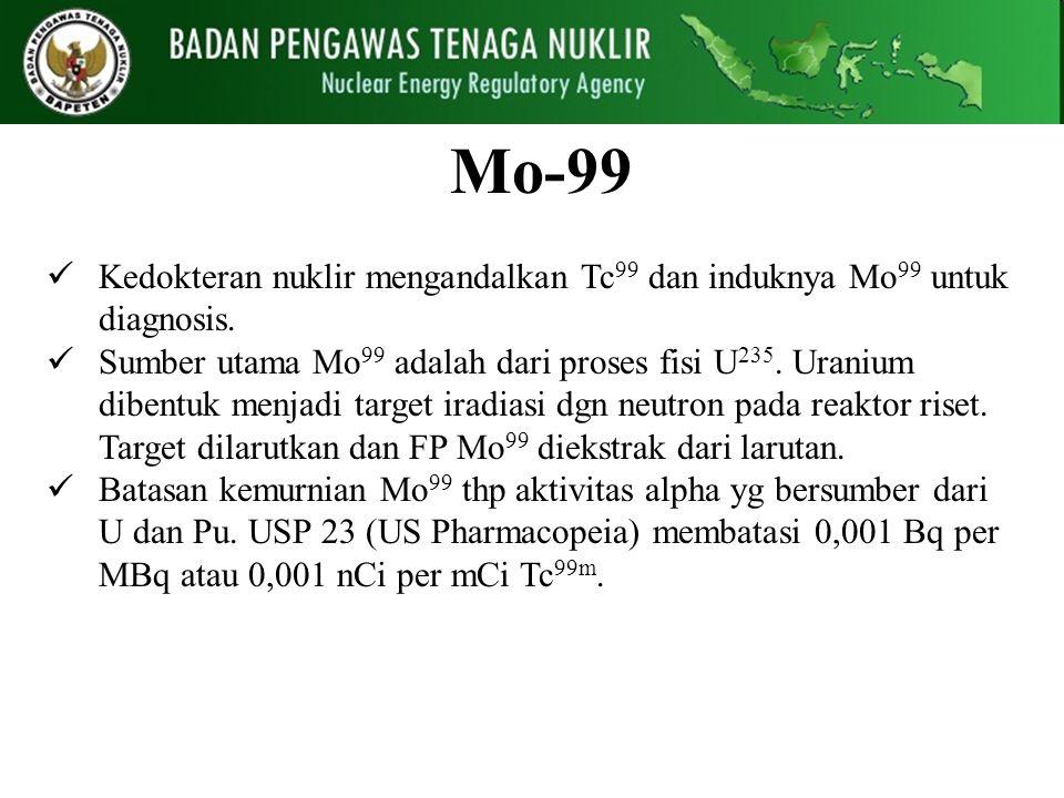 Mo-99 Kedokteran nuklir mengandalkan Tc 99 dan induknya Mo 99 untuk diagnosis. Sumber utama Mo 99 adalah dari proses fisi U 235. Uranium dibentuk menj