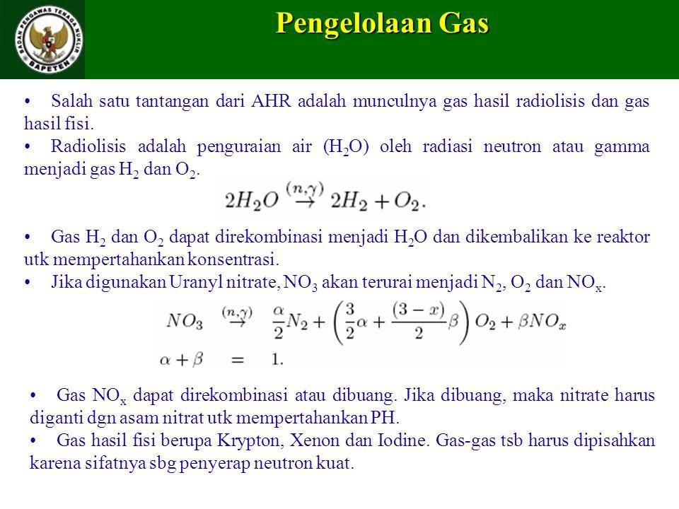 Pengelolaan Gas Salah satu tantangan dari AHR adalah munculnya gas hasil radiolisis dan gas hasil fisi. Radiolisis adalah penguraian air (H 2 O) oleh