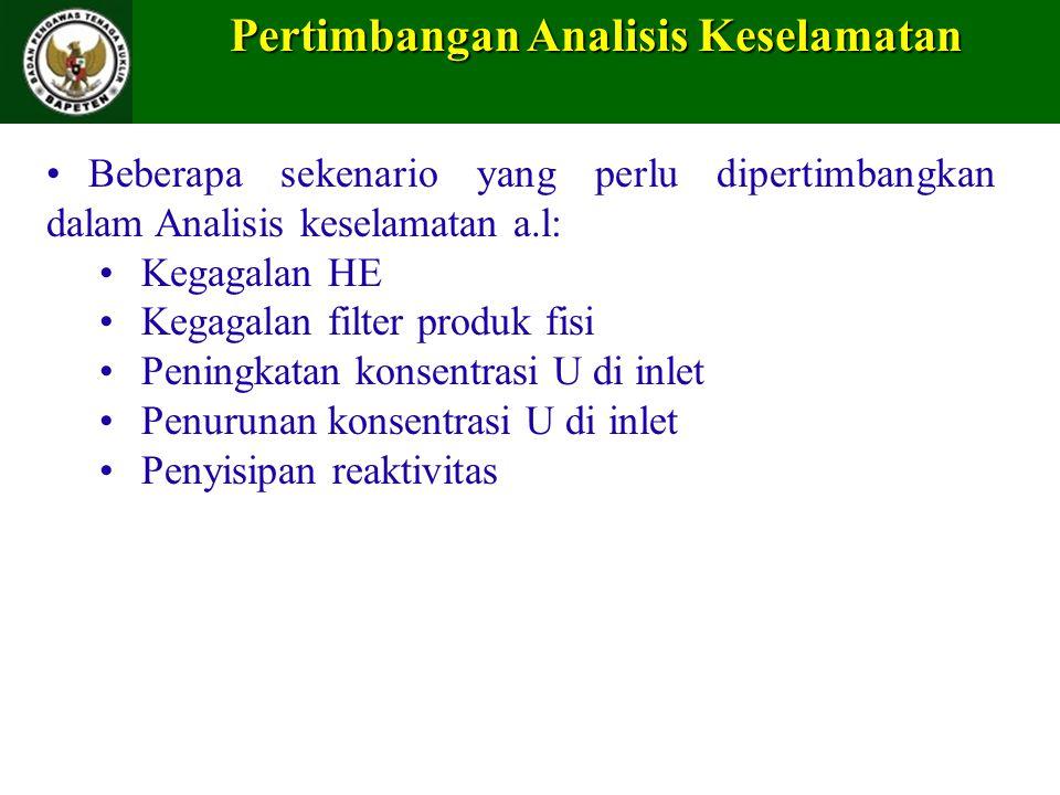 Pertimbangan Analisis Keselamatan Beberapa sekenario yang perlu dipertimbangkan dalam Analisis keselamatan a.l: Kegagalan HE Kegagalan filter produk f