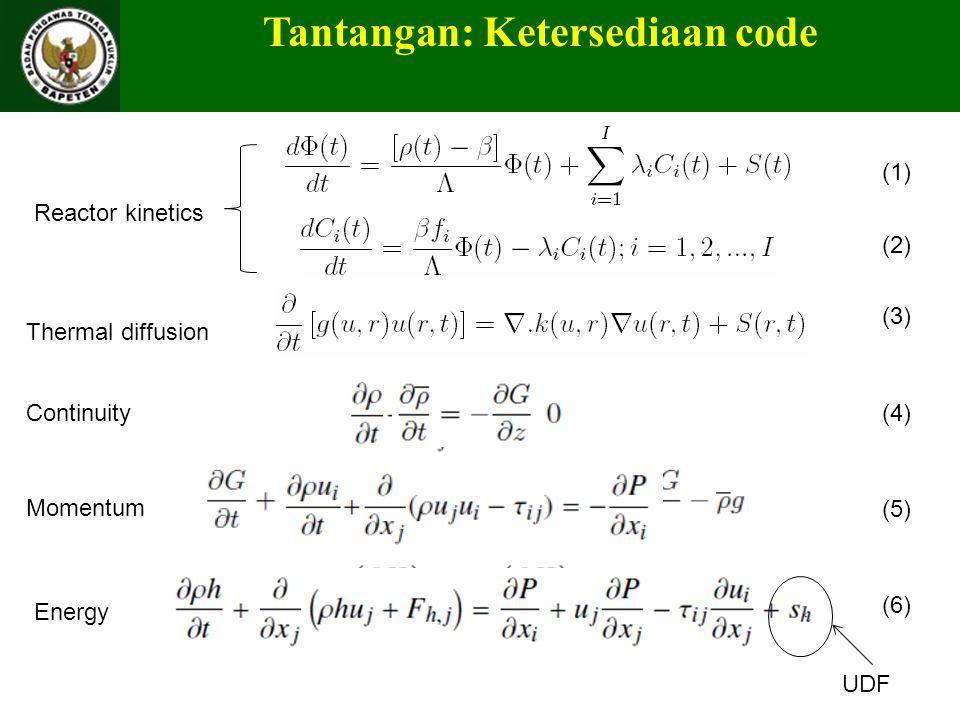 Tantangan: Ketersediaan code (1) (2) (3) (4) (5) (6) UDF Reactor kinetics Thermal diffusion Continuity Momentum Energy