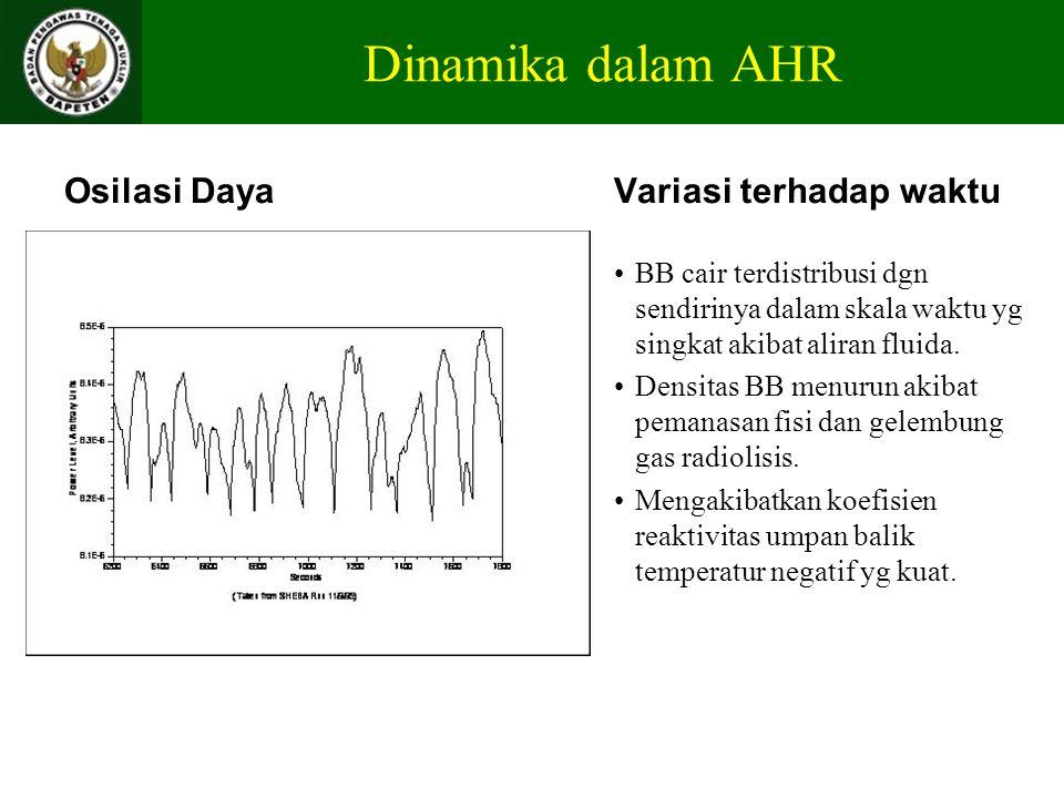 Dinamika dalam AHR Osilasi DayaVariasi terhadap waktu BB cair terdistribusi dgn sendirinya dalam skala waktu yg singkat akibat aliran fluida. Densitas