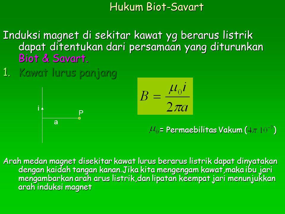 Hukum Biot-Savart Induksi magnet di sekitar kawat yg berarus listrik dapat ditentukan dari persamaan yang diturunkan Biot & Savart. 1.Kawat lurus panj