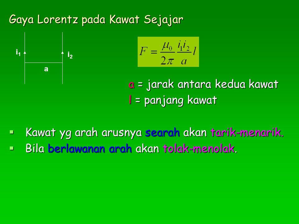 Gaya Lorentz pada Kawat Sejajar a = jarak antara kedua kawat l = panjang kawat  Kawat yg arah arusnya searah akan tarik-menarik.  Bila berlawanan ar