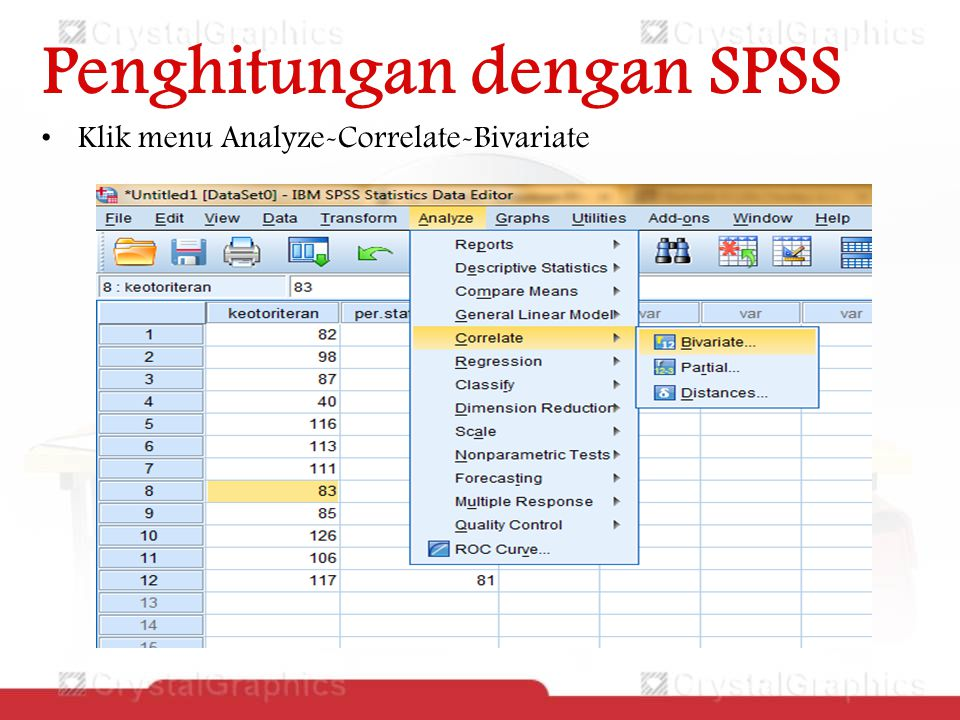 Penghitungan dengan SPSS Klik menu Analyze-Correlate-Bivariate