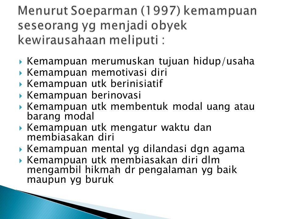  Minat berwirausaha lahir dari motif berprestasi.